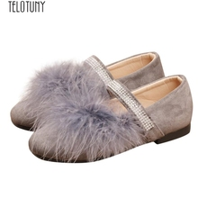 TELOTUNY/обувь принцессы для маленьких девочек; однотонная обувь принцессы из флока с кристаллами; Z0829