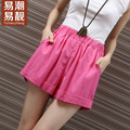 Yichaoyiliang 2017 Summer Elastic Waist Linen and Cotton Shorts Women Loose High Waist Shorts Beach Short Pants Home&Living