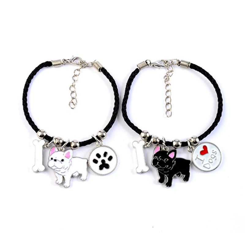 French Bulldog Charm Bracelets Bangles Women Girls Silver Color Dog Pendant Rope Chain Female Wrap Bracelet Jewelry Bijoux Femme 1