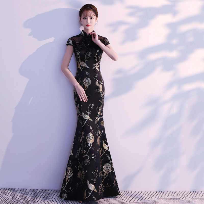 f1c8ba439d Sexy Black Oriental Evening Dresses Long Cheongsam Gold Mermaid Chinese  Traditional Dress Women Qipao Wedding Party Embroidery
