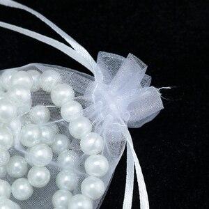 Image 5 - Hurtownie 100 sztuk wysokiej jakości 17x23cm duży torba z organzy kolor biały ślub Favor cukierki prezent torba do pakowania biżuterii torby torebki