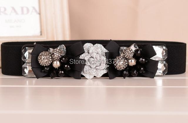 Tridimensional rosas luxo moda rhinestone cristal frisada belt cinturão nova primavera e verão mulheres cinto de compadrio
