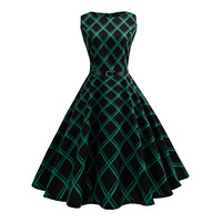 2018 New Spring Women S A Line Dress Green Plaid Round Neck Mid Length Sleeveless Stand