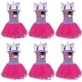 Niñas Doc. Mcstuffins Número 1 2 3 4 5 6 Cumpleaños Púrpura Caliente Rosa de Hadas Sueño Vestido 1-7Y
