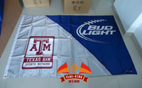 Free Shipping Texas Tech University With BUD Light Flag 90X150CM Size Stain Material Digital Printing Double