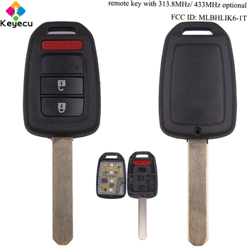 KEYECU Замена дистанционного ключа автомобиля-2 + 1/3 кнопки и 313,8 МГц/433 МГц и ID47 чип-брелок для Honda Accord Civic FCC ID: MLBHLIK6-1T