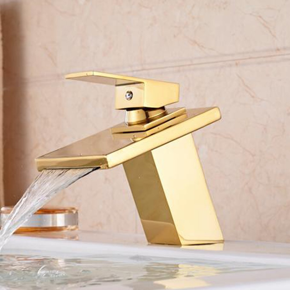 Free shipping Luxury solid brass gold waterfall faucet with single lever single hole bathroom basin sink