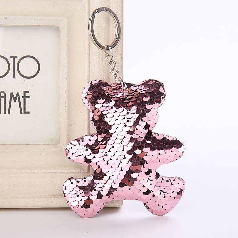 Брелок для ключей в виде единорога, медведя, кота, блестки, помпон, блестки, подарки для женщин, Llaveros Mujer