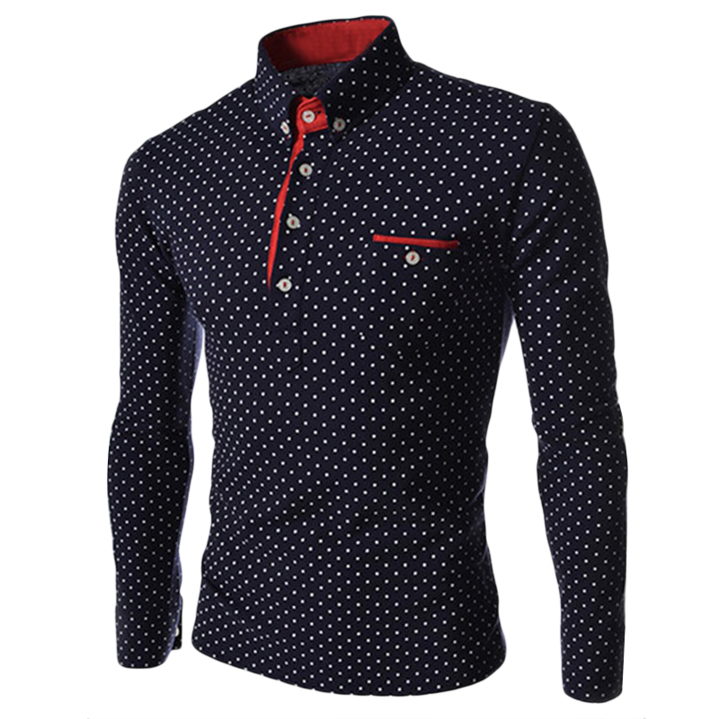 Brand designer mens turn down collar polo shirt 2017 long sleeve polka dot polo shirts slim