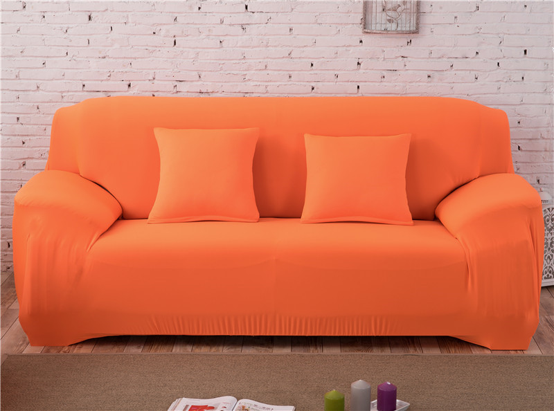 Solid Color Elastic Couch Cover made of Stretchable Material for Singe to 4 Seated Sofa in Living Room 30