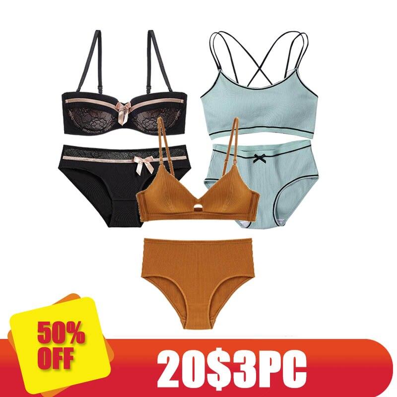 CINOON 3 pieces 2018 High-end Brand Romantic Temptation   Bra     Set   Women Fashion Stripes Underwear   Set   Push Up   Bra   and Panties   Set