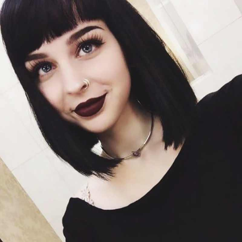 Straight Black Synthetic Wigs With Bangs For Women Medium
