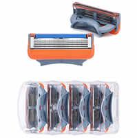 4 pcs/lot lames de rasoir 5 couches lames de rasage pour Gilettee Fusion lames de rasoir pour Gillette Proglide machine