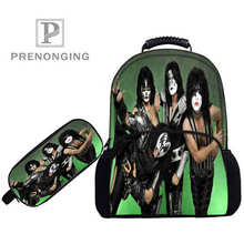 Custom 17inch KISS-Monster- Backpacks Pen Bags 3D Printing School Wome