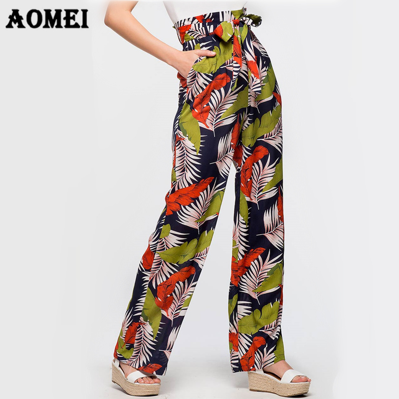 Women   Wide     Leg     Pants   Printing Trousers Summer Bohemian Beachwear Floral Printed Casual Palazzo Empire Waist Vacation Pantalon