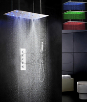 800X400 mm Mist Swash And Rainfall LED 3 Color Temperature Sensitive Shower Head Bathroom Bath Shower Faucet Set