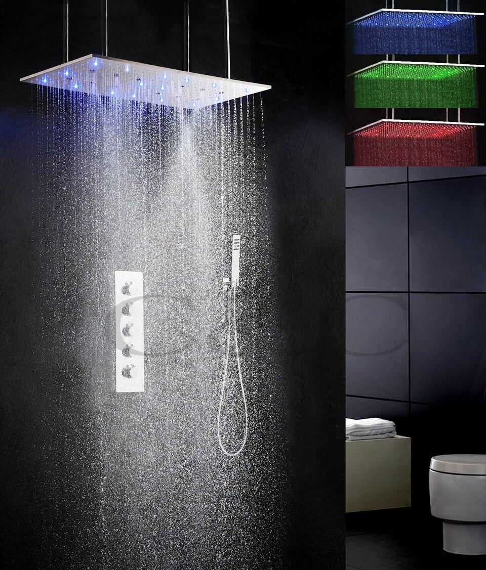 800X400mm Névoa Swash E Precipitação 3 Cores Sensível À Temperatura LED Cabeça de Chuveiro Banho de Chuveiro Do Banheiro Torneira Conjunto