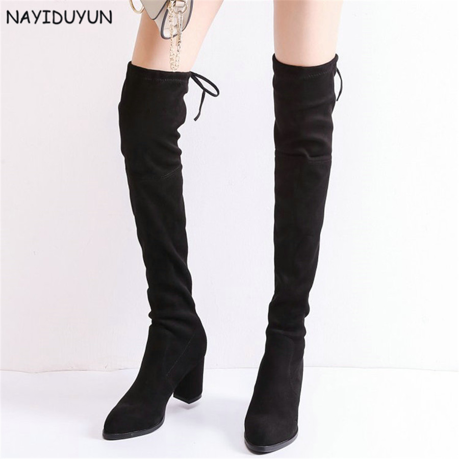 NAYIDUYUN    Fashion Thigh High Boots Women Faux Suede Point Toe Over Knee Boots Stretchy Slim Leg High Heels Party Pumps Shoes faux suede slim boots sexy over the knee high women snow boots women s fashion winter thigh high thick heels boots shoes woman