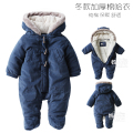 Baby bodysuit autumn and winter thickening male winter wadded jacket newborn romper thermal clothing
