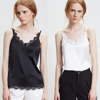 Satin v neck lace tank tops women camis all match 2colors S 2XL 2018 Spring new arrivals