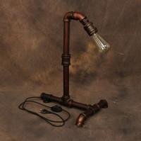 Iron Hardware Vintage Floor Light Industrial Edison Lamp water Pipe Style Art Deco Loft Desk Lamp