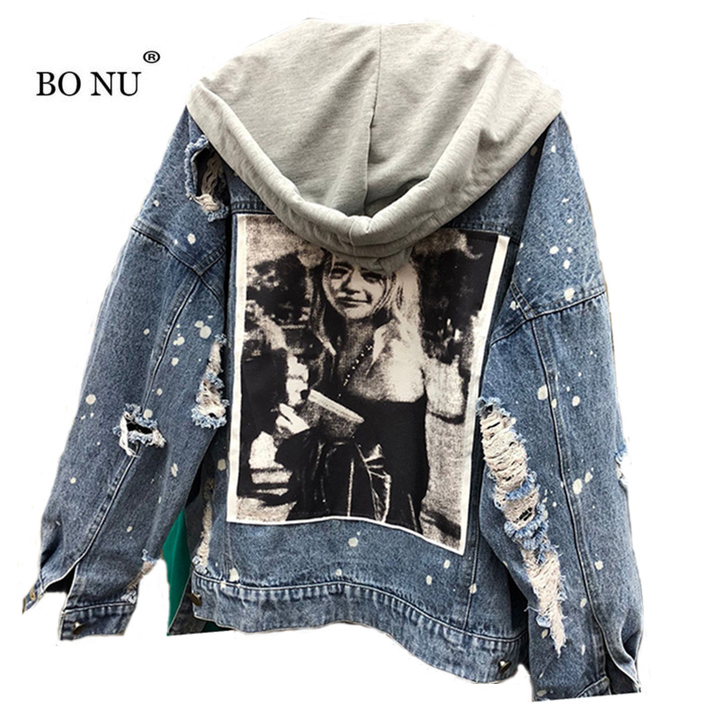 BONU AutumnPatch Desig Loose Denim Jacket For Women Streetwear HOODED Female Coat BF Womens Windbreaker Oversize Jeans Jacket