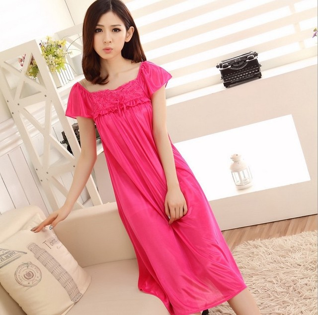 d0796e55ab12 Red long nightgown casual women clothes lace bow silk sleepwear robe  nightwear pijama sexy cute nightdress indoor clothing