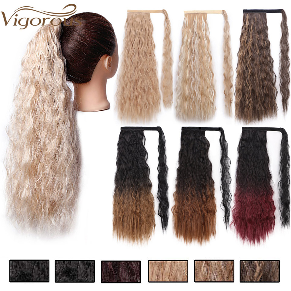 Vigorous Long Afro Kinky Straight Ponytail Synthetic Hairpiece Wrap On Clip