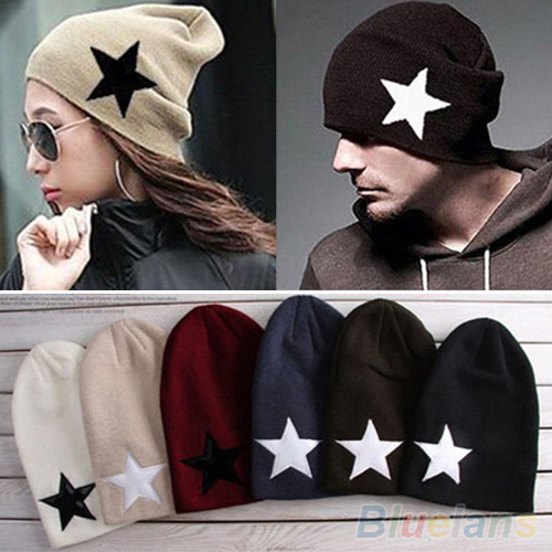 Hot Pentacle Star Warm Skull Beanie Hip-Hop Knit Cap  Crochet Cuff winter hat for Women Men 228E pentacle star warm skull beanie hip hop knit cap crochet cuff winter hat for women men hot sale