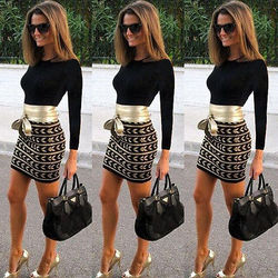 New Fashion Women Long Sleeve Bandage Bodycon Evening Party Club  Short Mini Dress 2