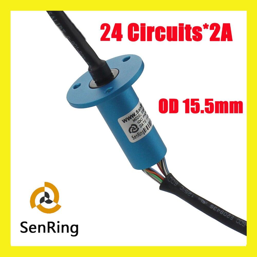 アルミ合金24ワイヤ/回路接触電気ロータリージョイントod 15.5ミリメートルカプセルスリップリング  グループ上の 家電製品 からの ケーブル の中 1