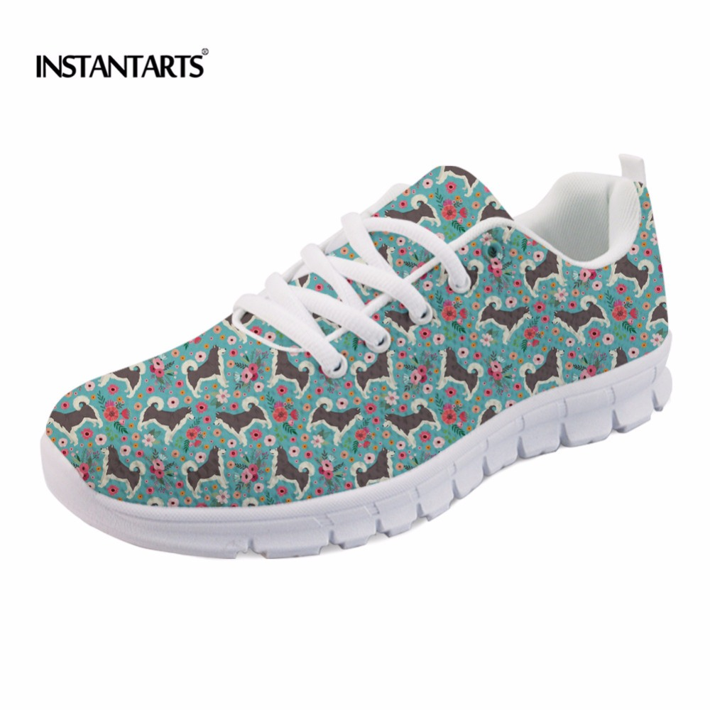INSTANTARTS Fashion Girls Flats Shoes Funny Dog Alaskan Malamute Flower Printing Mesh Flats Shoes Casual Women Lace-up Sneakers instantarts cute women flat shoes puppies samoyed flower printed teen girls spring mesh flats shoes fashion comfortable sneakers