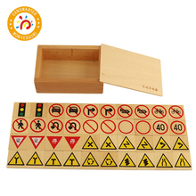 Baby Toy Montessori Wooden Traffic Sign Domino Building Blocks Children Early Educational children wood rail overpass block toy creative cartoon traffic scene building blocks educational toy for children birthday gift