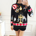 New 2016 autumn winter fashion women girls cute cartoon festival tin soldiers embroidery pullovers loose style wool sweater Xmas