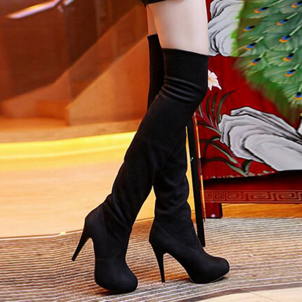 Women Stretch Faux Suede Slim Thigh High Boots Sexy Fashion Over the Knee Boots High Heels Woman Shoes Black Gray Leopard chris colfer the land of stories 5 an author s odyssey