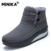 Minika Female Plush Swing Shoes Snow Platform Boots Women Warm Winter Waterproof Thermal Cotton Padded Shoes