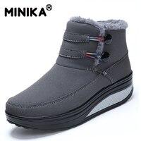 Minika Female Plush Swing Shoes Snow Platform Boots Women Warm Winter Waterproof Thermal Cotton Padded Shoes