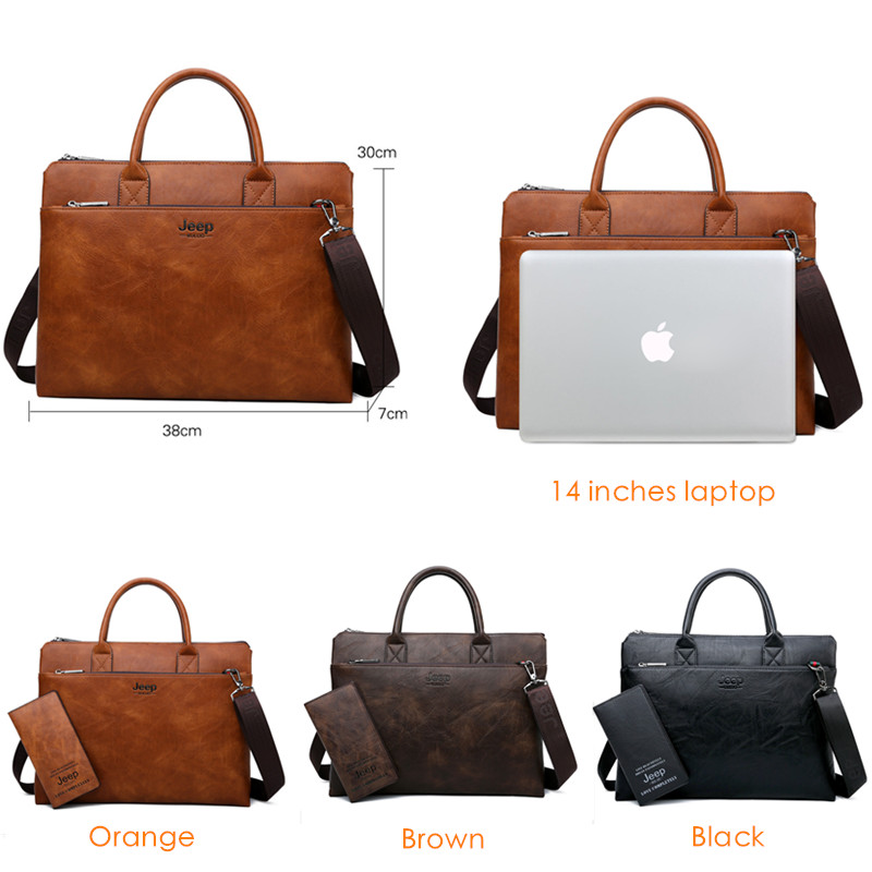 BULUOJEEP Brand High Quality 14 inch Laptop Business Bags Men Briefcases Set For  Handbags Leather Office Large Capacity Bags