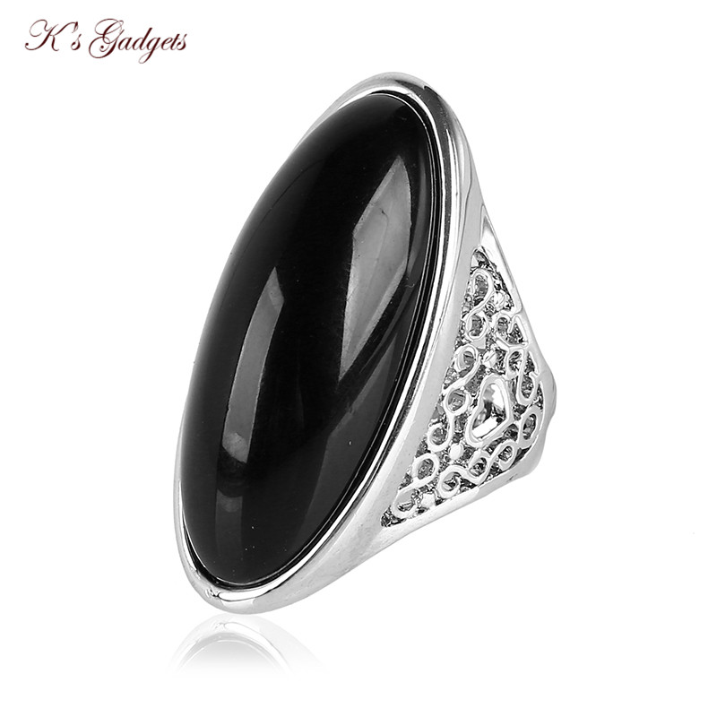 K's Gadgets Fashion Hollow Design Silver Color Black And Green Semi-precious Stone Large Size Rings For Women and Men chic metal bar and hollow out leg design black sunglasses for women