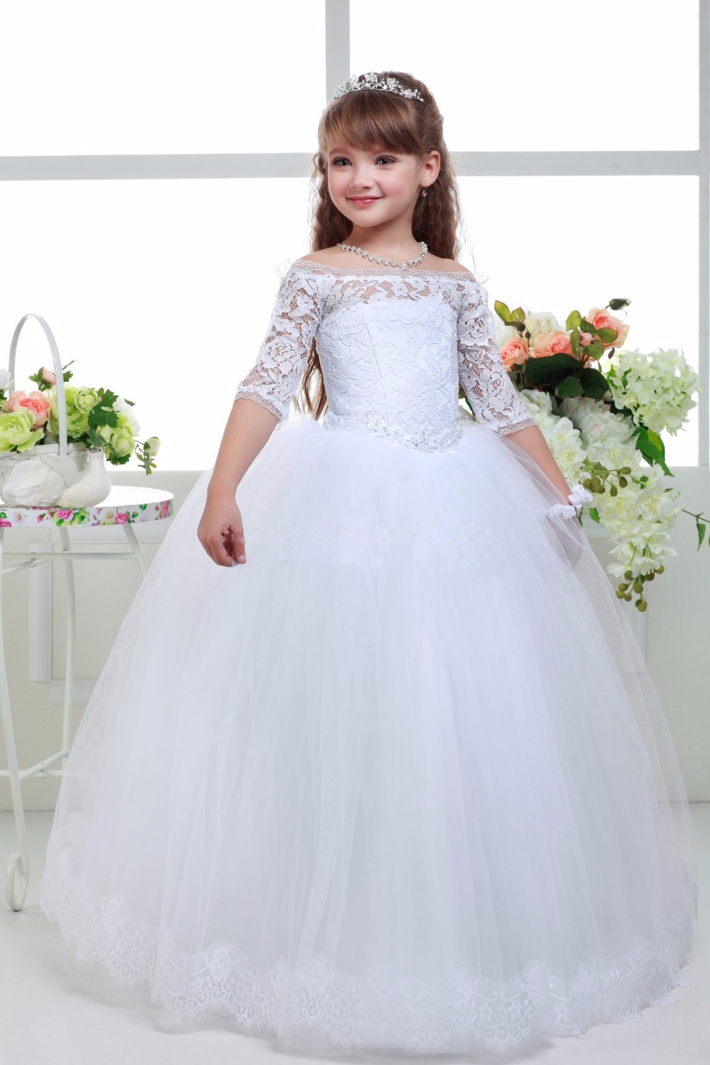 New Long White Lace Half Sleeve Ball Gown   Flower     Girls     Dresses   Simple Kids Wedding Party   Dress   First Communion   Dresses   For   Girls