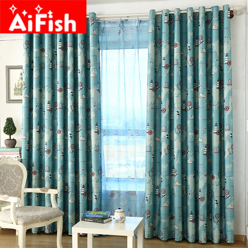 Mediterranean Style Blue and Rose Red Nautical Era Pattern Design Curtains For Living Room Home Window with Shade Cloth AP133-30