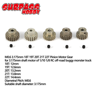 Image 1 - SURPASS HOBBY M0.6 5Pcs 3.175mm 13T 14T 15T 16T 17T 18T 19T 20T 21T 22T Metal Pinion Motor Gear Combo Set for RC 1/8 1/10 Car