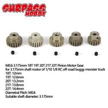 SURPASS HOBBY Motor de Metal de piñón, conjunto combinado para coche RC 3.175 1/8, 5 uds., 1/10mm, 13T, 14T, 15T, 16T, 17T, 18T, 19T, 20T, 21T, 22T