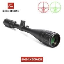 Охотничий прицел 6-24x50 AOE с 11 мм/20 мм рельсовым креплением красный и зеленый освещенный оптический прицел для охоты Tratical Rifle Scope