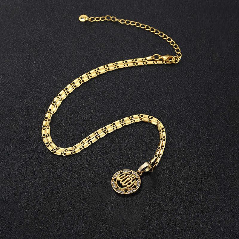 Okrągły złoty/srebrny kolor klasyczny muzułmański Allah biżuteria naszyjnik dla kobiet i mężczyzn imitacja kryształ naszyjnik religijne muzułmanin biżuteria