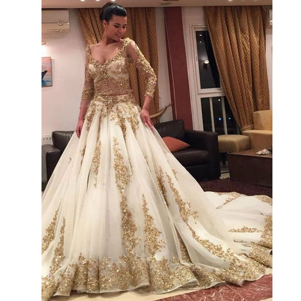2259225db1f4 Luxury White Tulle With Gold Appliques Long Sleeves A Line Evening Dresses  Long 2019 Scoop Beaded Sweep Train Prom Gowns ~ Perfect Sale July 2019