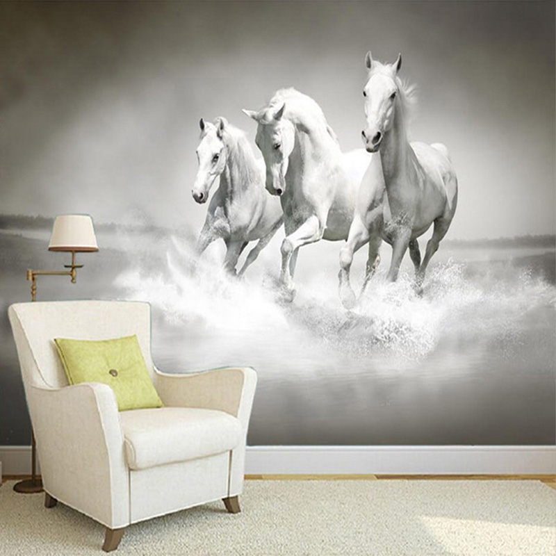 . US  8 72 52  OFF Beautiful HD White Horse Running 3D Stereo Photo Mural  Wallpaper Bedside Study Home Decor Backdrop Wall Painting Papel De  Parede in