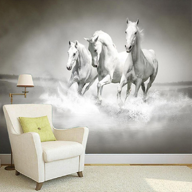 Indah Hd Putih Kuda Berjalan 3d Stereo Foto Mural Wallpaper Samping