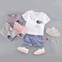 2017 Latest Kids Clothes Cartoon Rain Pattern With Four Buttons 3D Raindrops T Shirt Blue Short