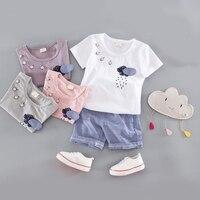 2017 najnowsze ubrania dla dzieci cartoon deszcz wzór z czterema przyciskami 3D raindrops t shirt + niebieski krótkie spodnie 2 sztuk chłopcy dziewczęta dzieci zestawy